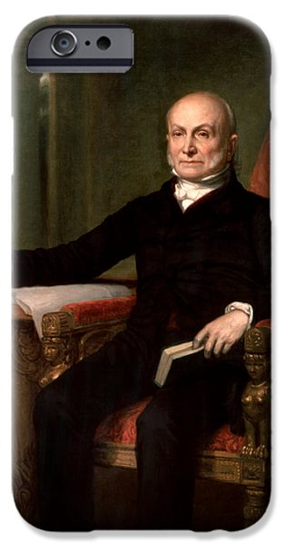 4th July Paintings iPhone Cases - President John Quincy Adams  iPhone Case by War Is Hell Store