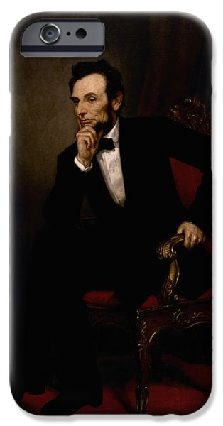 Portrait Paintings iPhone Cases - President Lincoln  iPhone Case by War Is Hell Store