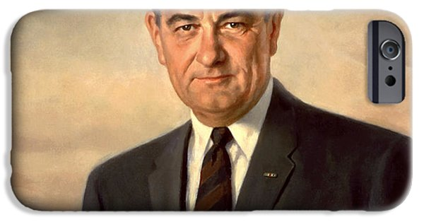 Democratic Party iPhone Cases - President Lyndon Johnson Painting iPhone Case by War Is Hell Store