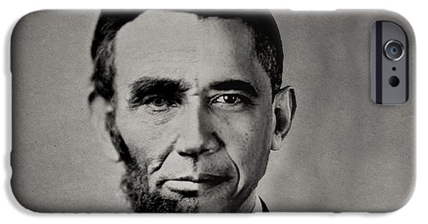 Barack Obama iPhone Cases - President Obama Meets President Lincoln iPhone Case by Michael Braham