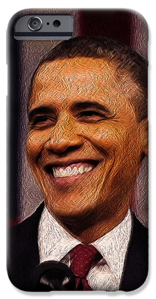 President Obama iPhone Cases - President Obama iPhone Case by Mim White