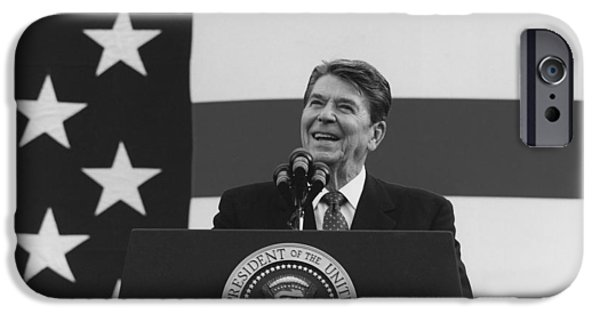 Reagan iPhone Cases - President Reagan American Flag  iPhone Case by War Is Hell Store