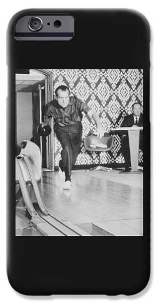 President iPhone Cases - President Richard Nixon Bowling At The White House iPhone Case by War Is Hell Store