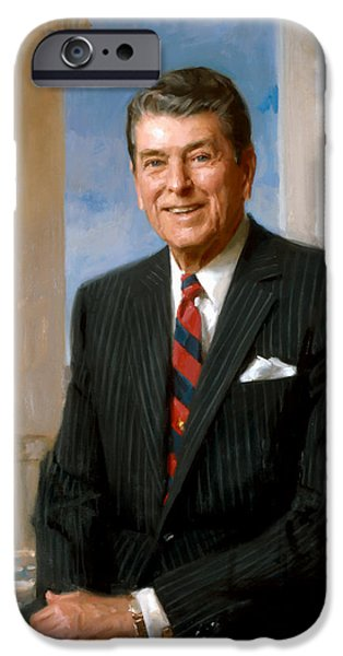 President Ronald Reagan Official Portrait iPhone Case by War Is Hell Store
