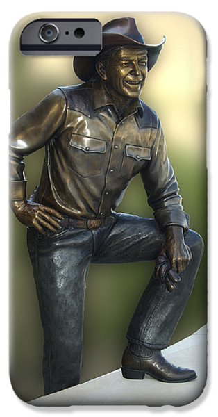 Mr. President iPhone Cases - President Ronald Reagan Statue iPhone Case by Thomas Woolworth