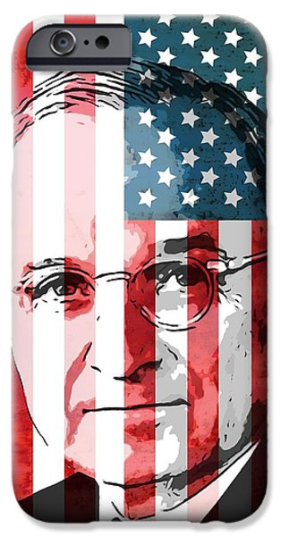 President Mixed Media iPhone Cases - President Truman On American Flag iPhone Case by Dan Sproul