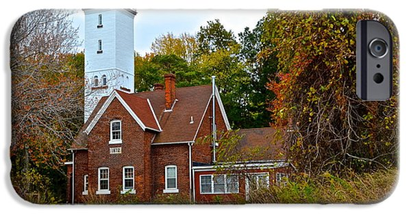 Salt Air iPhone Cases - Presque Isle Lighthouse iPhone Case by Frozen in Time Fine Art Photography