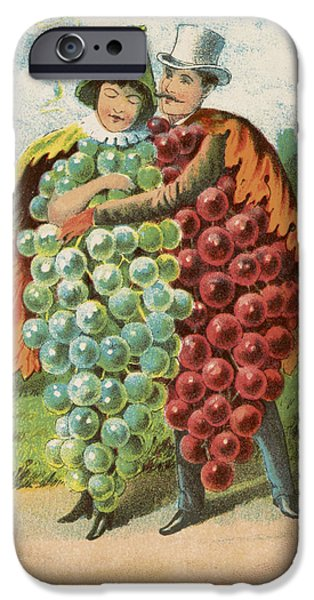 Grapes Drawings iPhone Cases - Pressed grapes iPhone Case by Aged Pixel