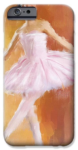 Ballet Dancers iPhone Cases - Pretty Ballerina iPhone Case by Lourry Legarde