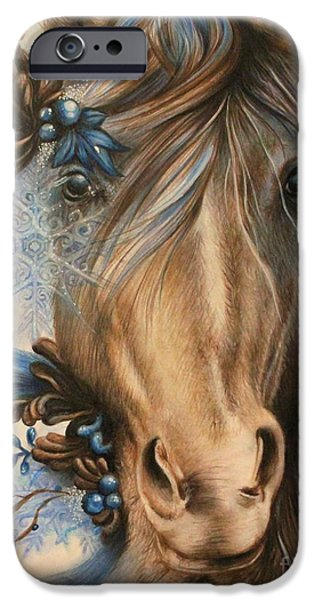 Horse Pastels iPhone Cases - Pretty Blue iPhone Case by Sheena Pike