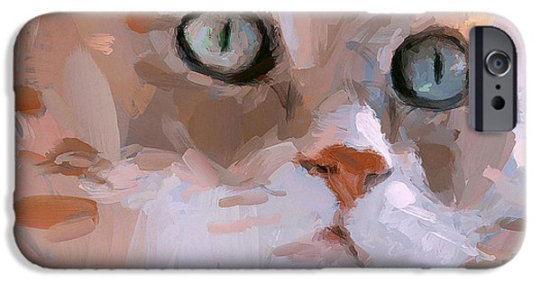 House Pet Digital Art iPhone Cases - Pretty Cat Woman iPhone Case by Yury Malkov