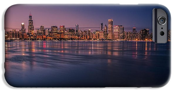 Willis Tower iPhone Cases - Pretty Chicago Skyline at dusk iPhone Case by Sven Brogren