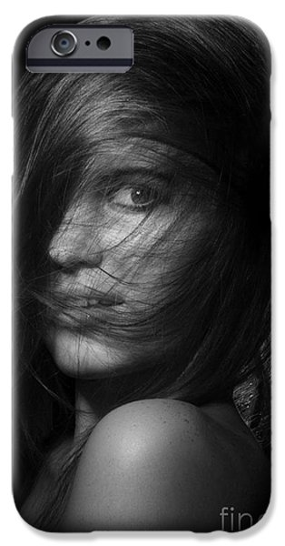 Hairstyle Digital iPhone Cases - Pretty Girl Monochrome iPhone Case by Aleksey Tugolukov