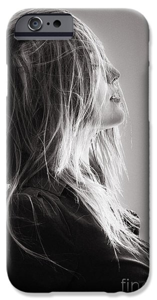 Hairstyle Digital iPhone Cases - Pretty Girl With Hairs iPhone Case by Aleksey Tugolukov
