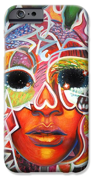 Rihanna Paintings iPhone Cases - Pretty Hot Skull iPhone Case by Ray Arcadio