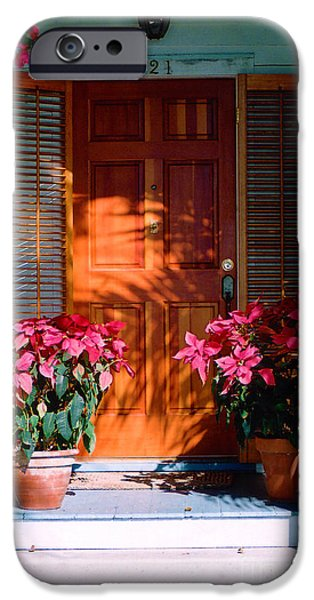 Pretty House Door in Key West iPhone Case by Susanne Van Hulst