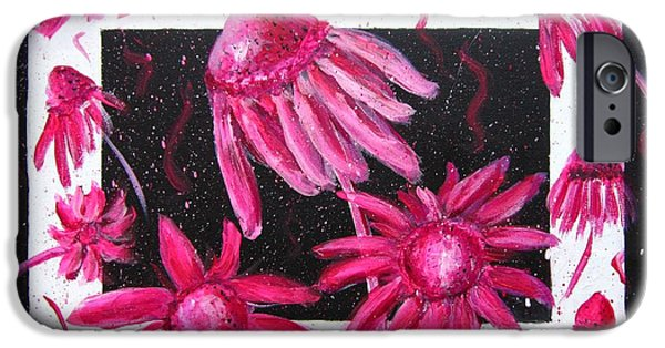 Abstracted Coneflowers Paintings iPhone Cases - Pretty In Pink 2 iPhone Case by Marita McVeigh