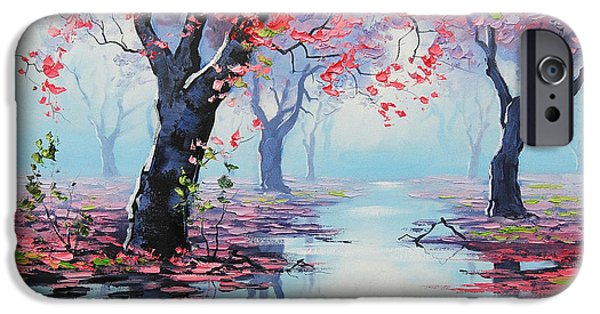 Tree Reflection iPhone Cases - Pretty in Pink iPhone Case by Graham Gercken