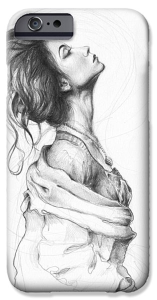 Pencil Portrait Drawings iPhone Cases - Pretty Lady iPhone Case by Olga Shvartsur