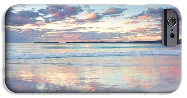 Pastel Pyrography iPhone Cases - Pretty pastel dawn sunrise at Hyams Beach NSW Australia iPhone Case by Leah-Anne Thompson