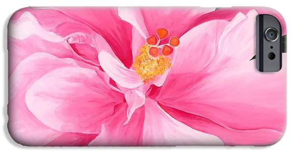 Pleasure iPhone Cases - Pretty Pink Hibiscus Painting iPhone Case by Lisa Bentley