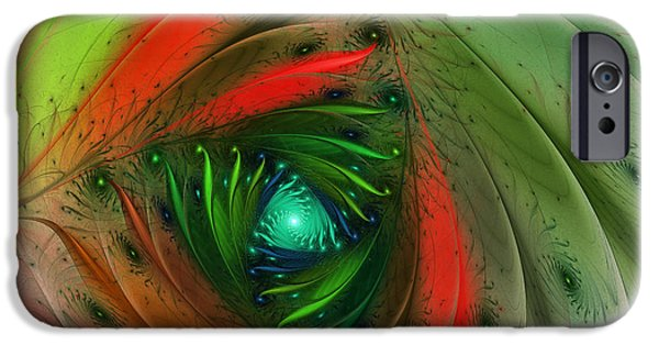 Wrap Digital Art iPhone Cases - Pretty Wrapped Spiral-Fractal Design iPhone Case by Karin Kuhlmann