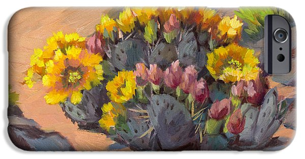 Pears iPhone Cases - Prickly Pear Cactus in Bloom iPhone Case by Diane McClary