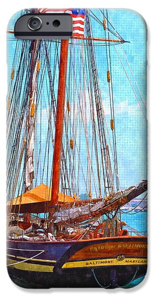 Tall Ship Mixed Media iPhone Cases - Pride of Baltimore iPhone Case by Chas Burnam