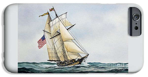 Sailing Ship Framed Prints iPhone Cases - Pride of Baltimore II iPhone Case by James Williamson