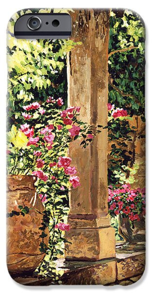 Pillars iPhone Cases - Prieure Hotel Gardens Villeneuve iPhone Case by David Lloyd Glover