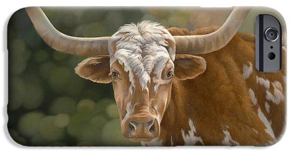 Texas Longhorn iPhone Cases - Primo  iPhone Case by Laura Regan