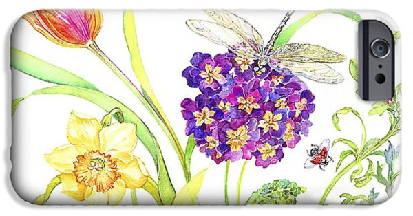 Caterpillar iPhone Cases - Primrose and Dragonfly iPhone Case by Kimberly McSparran