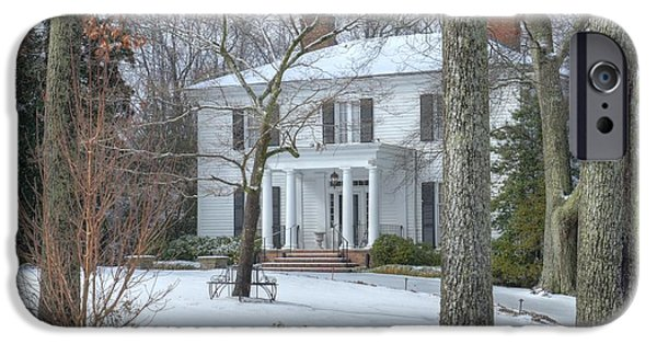 Historic Snowy Mansion iPhone Cases - Primrose Cottage in the snow iPhone Case by Steve Grundy
