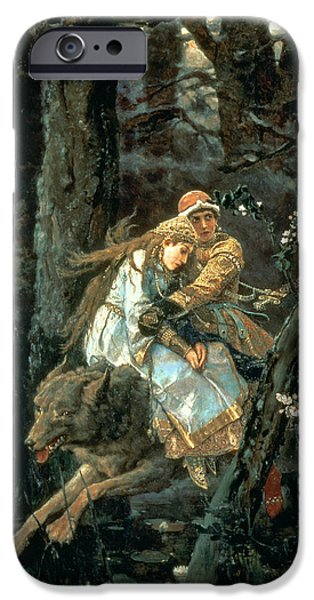 Forest iPhone Cases - Prince Ivan On The Grey Wolf, 1889 iPhone Case by Victor Mikhailovich Vasnetsov