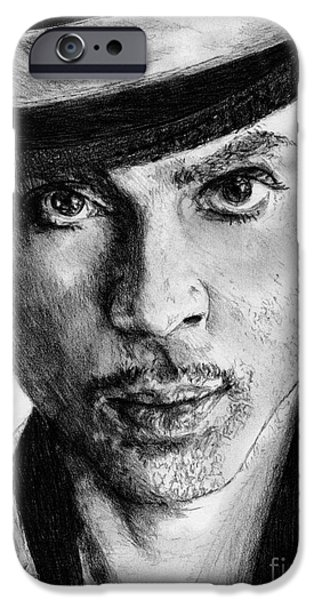 African-american Drawings iPhone Cases - Prince Nelson in 2006 iPhone Case by J McCombie