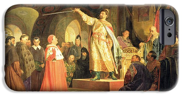 The Vault iPhone Cases - Prince Roman Of Halych-volhynia Receiving The Ambassadors Of Pope Innocent Iii, 1875 Oil On Canvas iPhone Case by Nikolai Vasilievich Nevrev