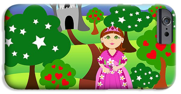 Fairy Hearts Pink Flower iPhone Cases - Princess and castle landscape iPhone Case by Sylvie Bouchard