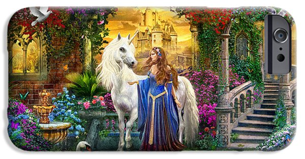 Mythological iPhone Cases - Princess and Unicorn in the Cloisters iPhone Case by Jan Patrik Krasny