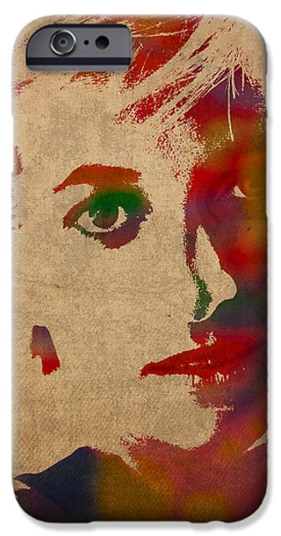 Royalty iPhone Cases - Princess Diana Watercolor Portrait on Worn Distressed Canvas iPhone Case by Design Turnpike