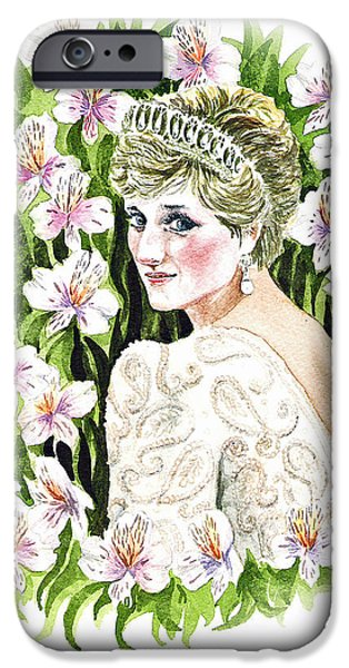 Royalty iPhone Cases - Princess Dianna iPhone Case by Irina Sztukowski