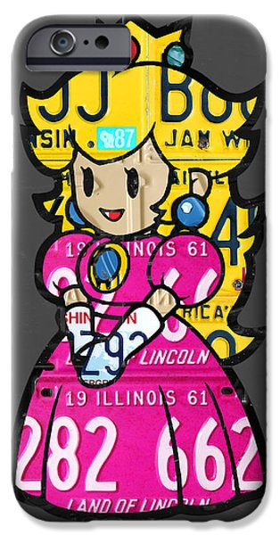 Princess iPhone Cases - Princess Peach from Mario Brothers Nintendo Recycled License Plate Art Portrait iPhone Case by Design Turnpike