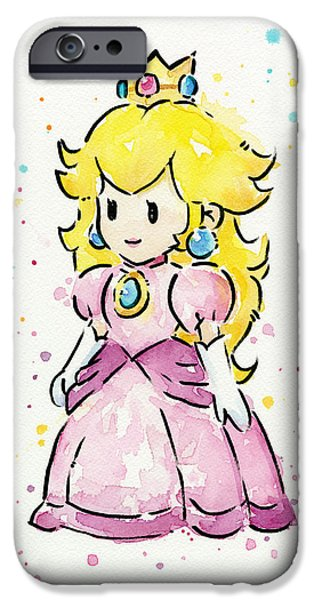 Princess iPhone Cases - Princess Peach Watercolor iPhone Case by Olga Shvartsur
