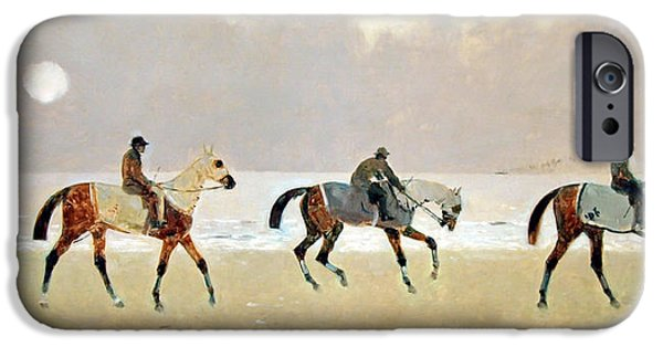 Cora Wandel iPhone Cases - Princeteaus Riders On The Beach At Dieppe iPhone Case by Cora Wandel