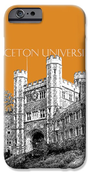 Pen And Ink iPhone Cases - Princeton University - Dark Orange iPhone Case by DB Artist