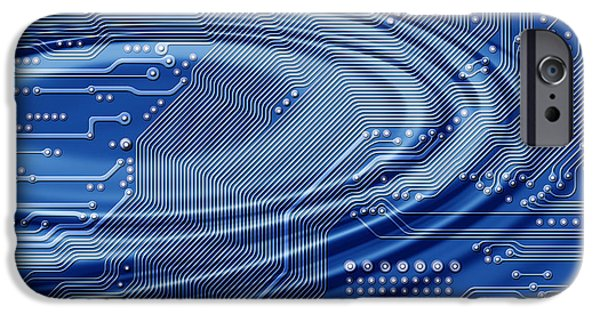 Component Digital Art iPhone Cases - Printed Circuit With Waves iPhone Case by Michal Boubin