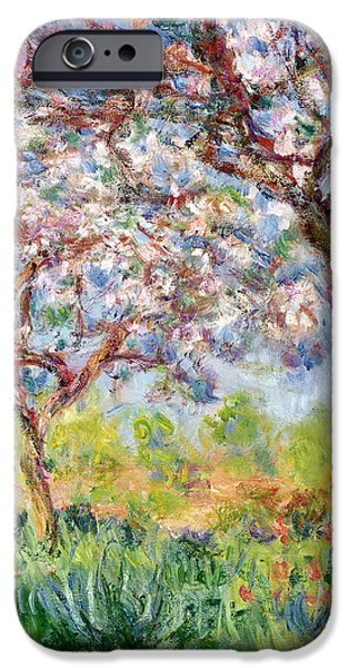 In Bloom Paintings iPhone Cases - Printemps a Giverny iPhone Case by Claude Monet