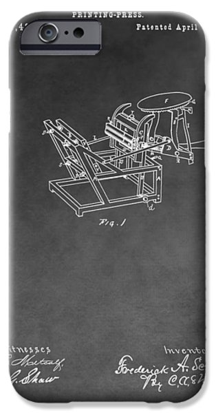 Technology Drawings iPhone Cases - Printing Press Patent Drawing iPhone Case by Dan Sproul
