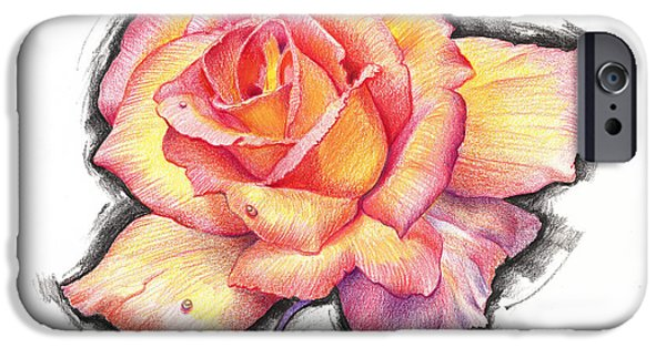 John Stewart iPhone Cases - Prismacolor Rose iPhone Case by John Norman Stewart