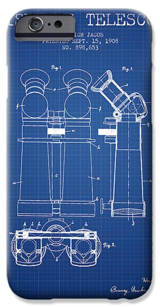 Telescope iPhone Cases - Prismatic Telescope Patent from 1908 - Blueprint iPhone Case by Aged Pixel