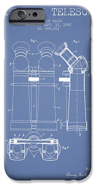 Telescope iPhone Cases - Prismatic Telescope Patent from 1908 - Light Blue iPhone Case by Aged Pixel